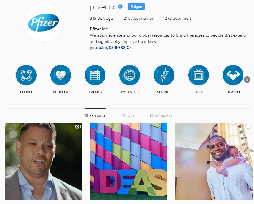 Pfizer auf Instagram